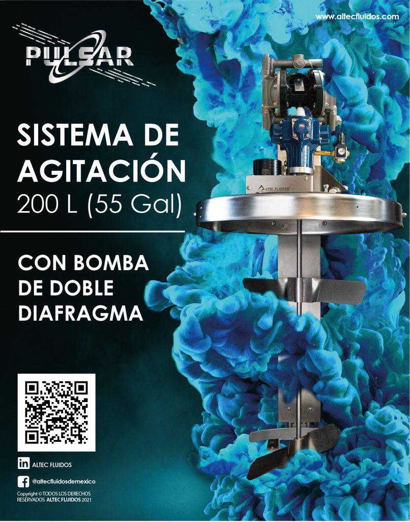 sistema de agitación con bomba de doble diafragma 200L