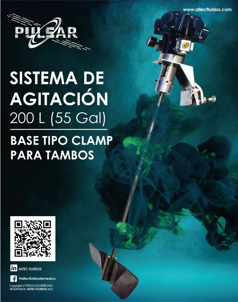 sistema de agitación tipo clamp 200L